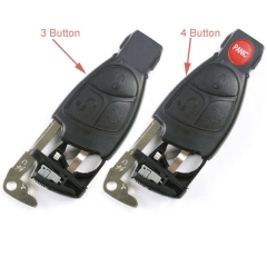 2005-2008 Mercedes Black Remote Shell 3/ 4 Buttons with Insert Blade & Battery Tray for Benz Smart Key Repair