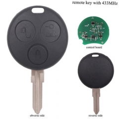 Mecerdes Smart Fortwo 452 Remote Key 3 Buttons 433MHz
