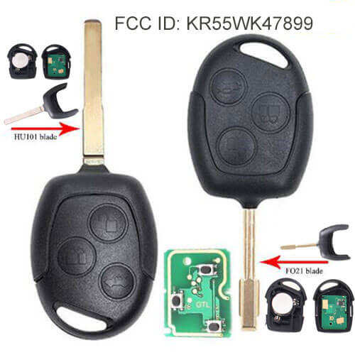 2001-2007 Ford Mondeo Remote Key 433Mhz 3 Buttons with HU101/ FO21 Blade For Focus Fiesta C-max -KR55WK47899