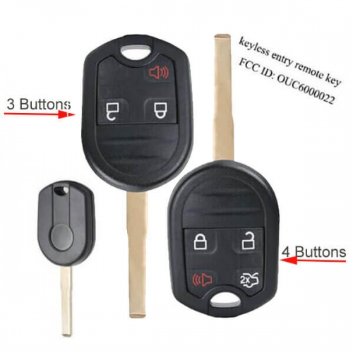 2015-2018 Ford Fiesta Remote Key 315Mhz 4D63 Chip 3/ 4 Buttons -OUC6000022