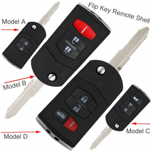 Flip Key Remote Shell 2/ 3/ 4 Buttons with MAZ24 Blade for Mazda 3 5 6 RX-8 CX-7 CX-9