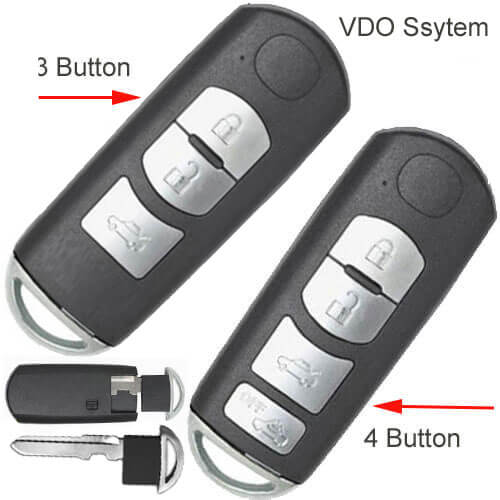 Mazda Smart Key Fob 433Mhz 3/ 4 Buttons For CX-3 CX-5 CX-7 -VDO System