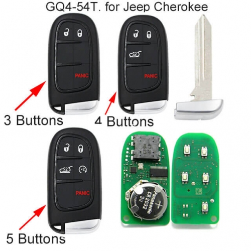 Smart Remote Key Fob 433MHz for Jeep Cherokee -GQ4-54T
