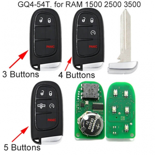 Smart Remote Key Fob 433MHz for Air Suspension Ram 1500, 2500 -GQ4-54T