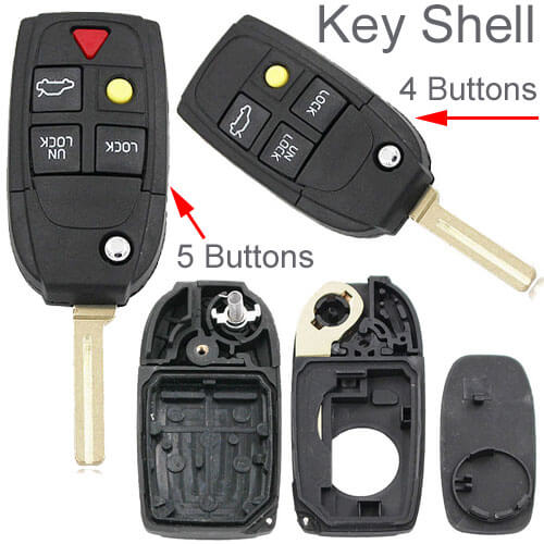 2000-2005 Volvo Flip Key Remote Shell 4/ 5 Button for S40 S60 S70 S80 S90 V40 V70 V90 XC70 XC90