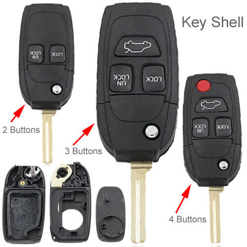2000-2005 Volvo Flip Key Remote Shell 2/ 3/ 4 Button for S40 S60 S70 S80 S90 V40 V70 V90 XC70 XC90