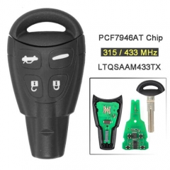 SAAB 9-3 9-5 Smart Key Remote 315/ 433MHz 4 Button Fob with Emergency Blade Uncut -LTQSAAM433TX