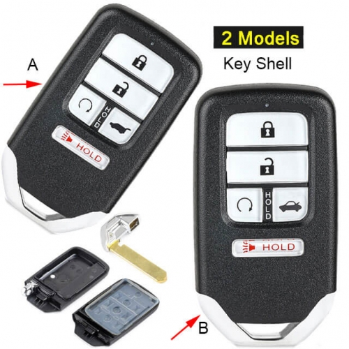 Hond*a Smart Remote Key Shell 5 Buttons Fob for Civic Pilot 2016 2017 2018