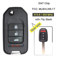Upgraded Hond*a Flip Key Remote Fob 313.8/ 433MHz 4 Button with ID47 Chip for Fit Civic XRV HRV CRV -MLBHLIK6-1T