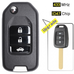 Upgraded Hond*a Flip Key Remote Fob 433MHz 3 Button with ID47 Chip for City Acoord B-RV Civic Crider 2013-2016