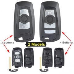 Black Smart Remote Key Shell 3/ 4 Buttons with Blade Uncut for BMW CAS4 5 Series 550i GT X3 535i 528i
