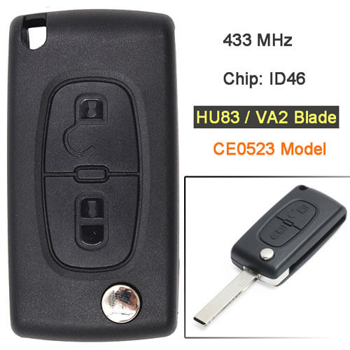 Citroe*n Flip Remote Key 433MHz 2 Buttons CE0523 Model for Berlingo C2 C3 C4 Picasso C4 C5 C6