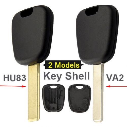 Peugeo*t 307 Citroe*n C2 Transponder Key Shell with HU83/ VA2 Blade Uncut