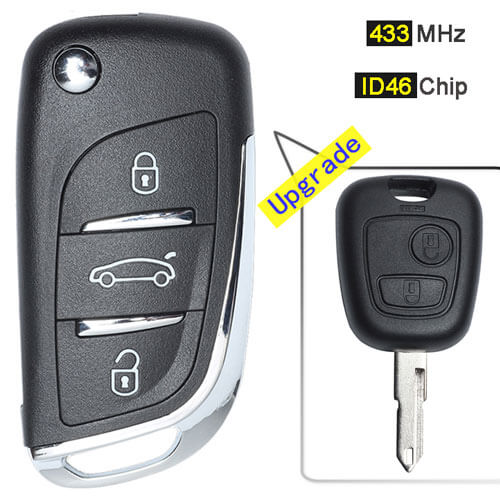 Modified Peugeo*t 206 207 Flip Remote Key Fob 433MHz 3 Button with Folding Blade