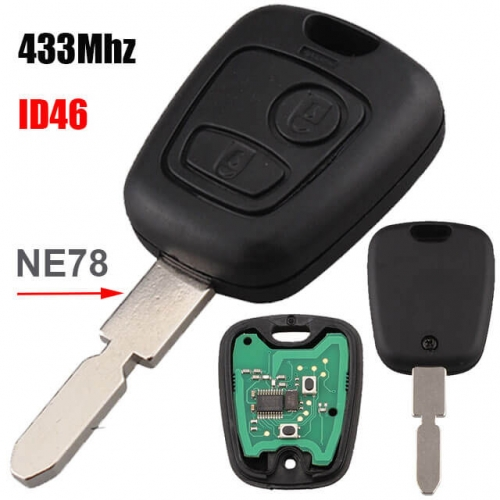 Peugeo*t 406 Combo Remote Key 433MHz 2 Buttons with ID46 Chip