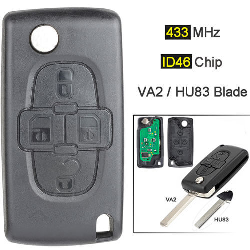 2005-2009 Peugeo*t 1007 Citroe*n C8 Flip Remote Key 433MHz 4 Buttons with HU83/ VA2 Blade
