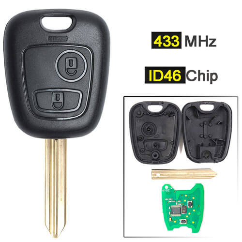 Combo Remote Key 433MHz 2 Buttons for Peugeo*t Partner Expert Boxer Citroe*n Saxo Picasso Xsara Berlingo