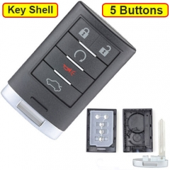2008-2015 Cadilla*c CTS Smart Remote Key Shell 5 Buttons with Emergency Blade Uncut for DTS STS XTS