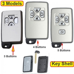 Toyot*a Smart Key Remote Shell 3/ 4/ 5 Buttons with Emergency Blade Uncut -White