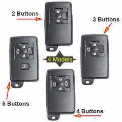 Toyot*a Smart Key Remote Shell 2/ 3/ 4/ 5 Buttons with Emergency Blade Uncut -Black