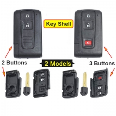 Toyot*a Smart Key Remote Shell 2/ 3 Buttons with Emergency Blade Uncut -Black