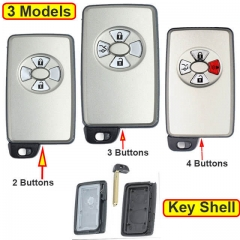 Toyot*a Smart Key Remote Shell 2/ 3/ 4 Buttons with Emergency Blade Uncut -White