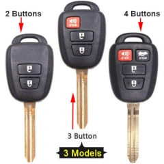 Toyot*a RAV4 Combo Remote Key Shell 2/ 3/ 4 Buttons with Toy43 Blade Uncut