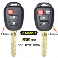 Toyot*a RAV4 Camry Remote Key 314.3MHz 3/ 4 Buttons with Toy43 Blade -HYQ12BDM