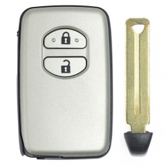 Silver Toyot*a Smart Key Remote Card 433MHz 2 Buttons with TOY48 Emergency Blade