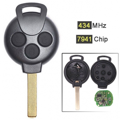 Mecerdes Smart Fortwo 451 Remote Key 3 Buttons 433MHz with PCF7941 Chip Laser Blade