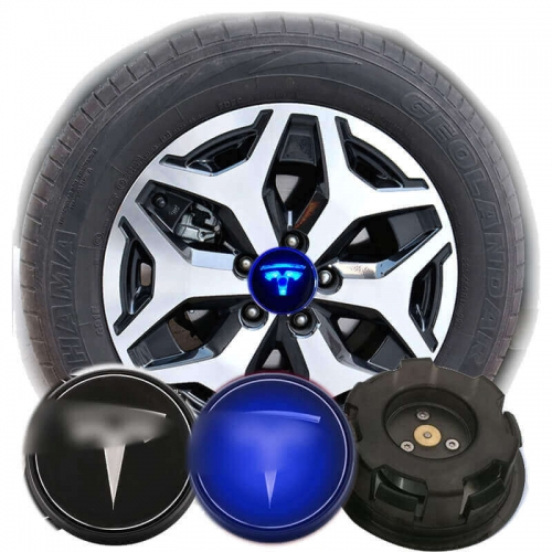 57MM Waterproof Led Blue Light TESLA Logo Wheel Hub Lamp Floating Center Cap Car Wheel Emblem Model-3 Model-S Model-X