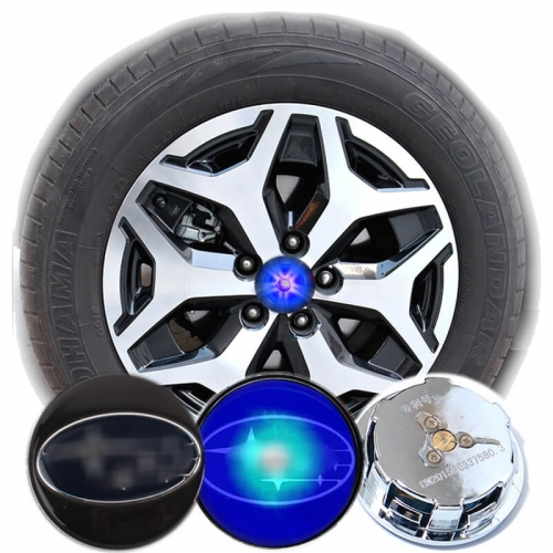 59MM Blue Light SUBARU Logo Led Floating Wheel Hub Caps for XV Outback Forester Tribeca Pleo Dex Stella Trezia Exiga