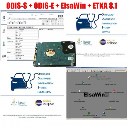 Preinstalled Win7 Win10 VAG Software ODIS-S ODIS-E ETKA ELSA in 500GB SATA HDD