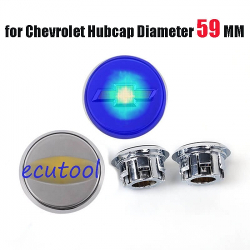 59MM Floating HubCaps Silver Wheel Center Cap Cover Blue Light Led Logo for 2010 2011 2012 2013 Cruze