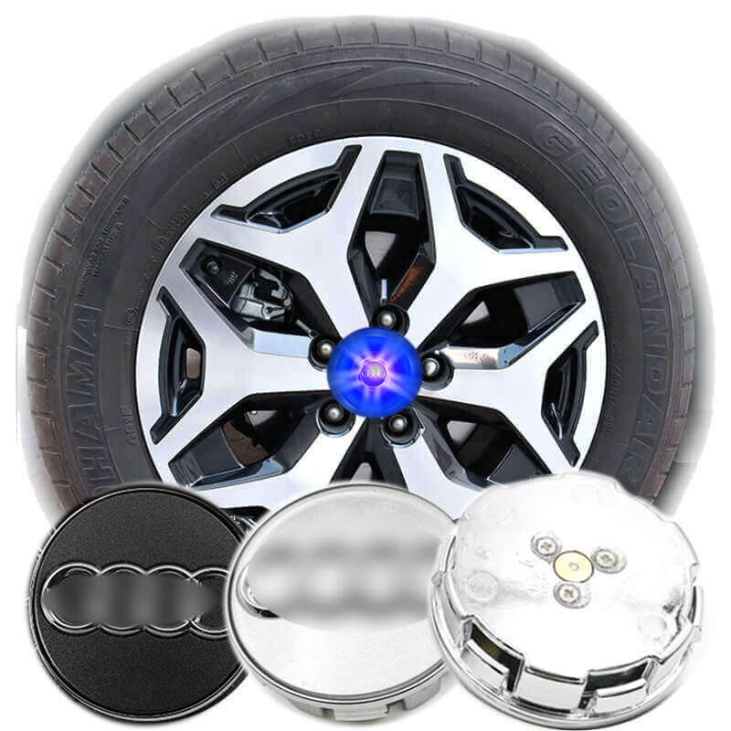 Aud * i Led Capuchons de moyeu de roue flottants avec logo pour TT Q2L Q5L Q7 A6L A8L A1 A3 A4L A5 A7 S3 S4 S5 SQ5 Q3 Capuchons de centre de roue Badge bleu