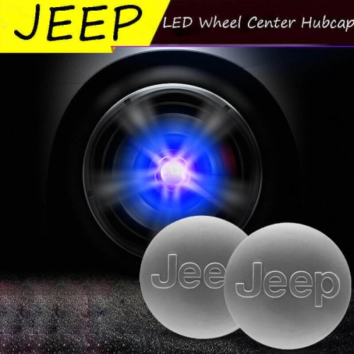 60MM Jeep Badge LED Floating Car Wheel Hub Caps Plug and Play Waterproof Wheel Center Hubcap