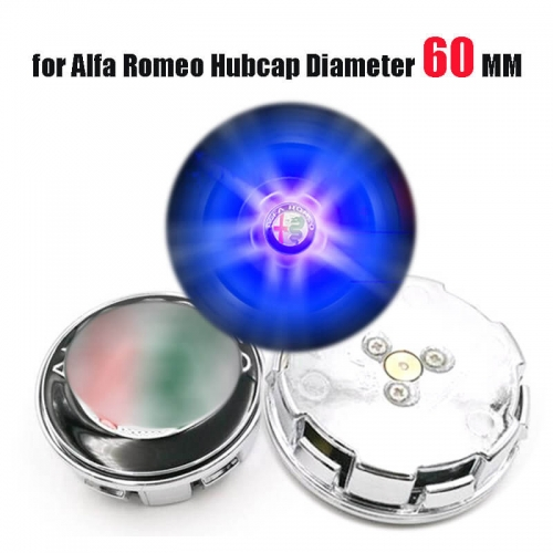 60mm Alfa Romeo156 147 LED Floating Car Wheel Center Caps Plug and Play Waterproof Blue Lighted Wheel Hub Cap Emblem