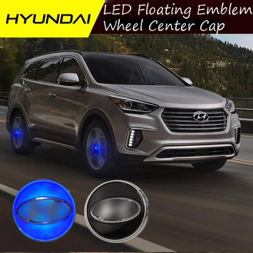 54MM 59MM HYUNDA*I Magnetic Suspension LED Floating Wheel Center Cap Blue Light Car Emblem